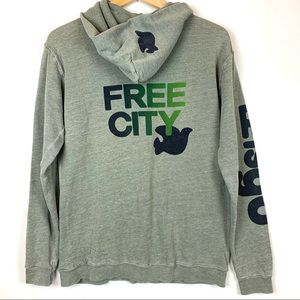 Freecity Let's Go Zip Up Hoodie Green Size 3